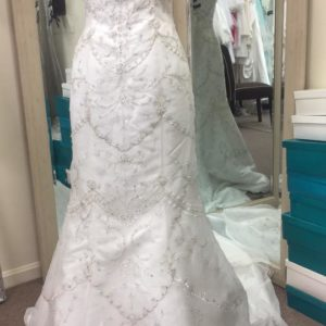 Mon Cheri Beaded Fit And Flare Wedding Gown