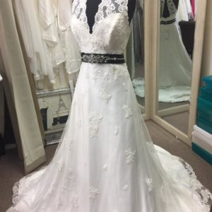 Mon Cheri Vintage Lace Light Ivory Wedding Gown