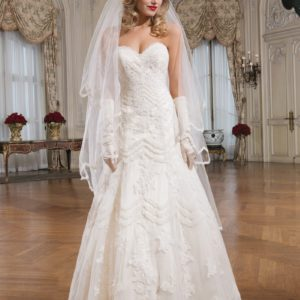 Justin Alexander Ivory Beaded Soutache Lace Aline Gown Style 8759